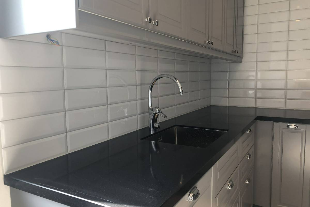 White Cabinets and Tiles